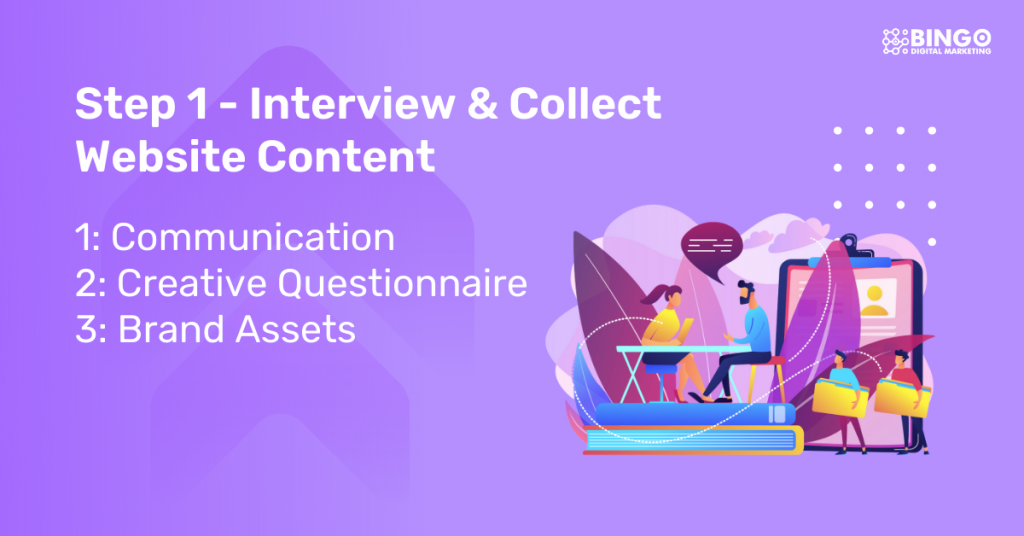Step 1 - interview and collect content